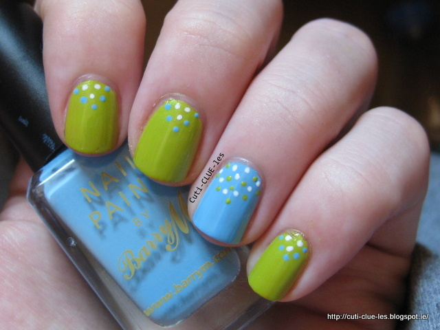 Blue and green dotty nail art (3)