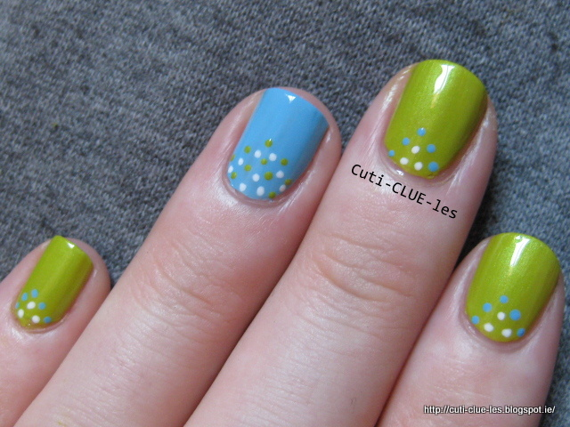 Blue and green dotty nail art